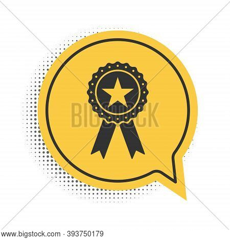 Black Award Medal With Star And Ribbon Icon Isolated On White Background. Winner Achievement Sign. C