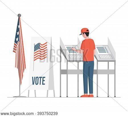 Man Standing Near Voting Stands, Fill Casting Ballots, Voting, And Choosing Candidates Vector Flat I