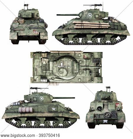 Various Views Of A Vintage American World War 2 Allied Armored Medium Combat Tank On A Isolated Whit