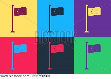 Pop Art Flag Of European Union Icon Isolated On Color Background. Eu Circle Symbol. Waving Eu Flag O