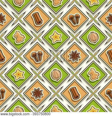 Vector Spice Seamless Pattern, Square Repeating Spice Background, Isolated Illustrations Of Exotic S