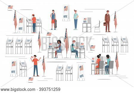 Happy Smiling People Voting On Elections In The Usa Vector Flat Illustration. Voting Stands, United