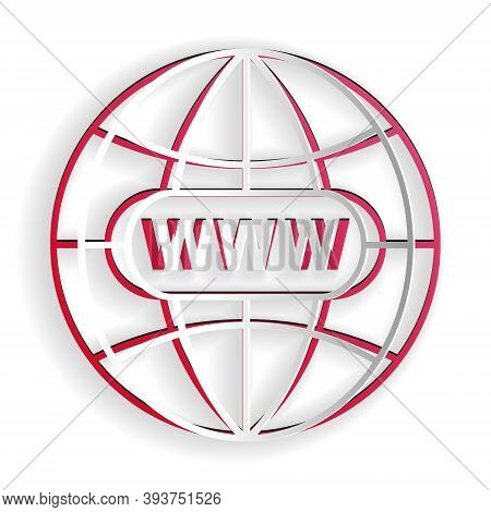 Paper Cut Go To Web Icon Isolated On White Background. Www Icon. Website Pictogram. World Wide Web S
