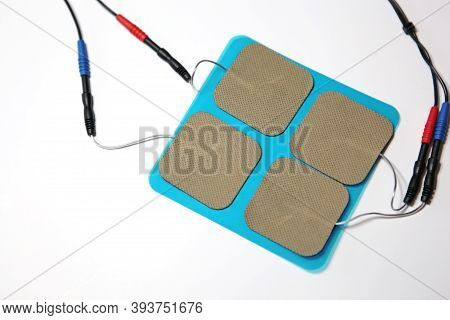 Isolated Set Of Medical Electrodes Patches With Electric Wires For Cardiology Doctor To Use On Patie