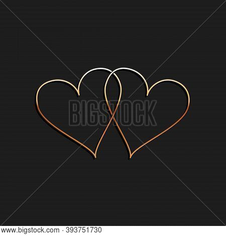 Gold Two Linked Hearts Icon Isolated On Black Background. Heart Two Love. Romantic Symbol Linked, Jo