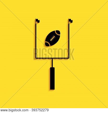 Black American Football With Goal Post Icon Isolated On Yellow Background. Long Shadow Style. Vector