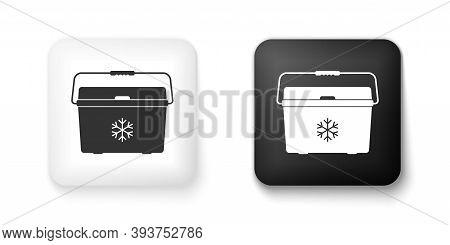 Black And White Cooler Bag Icon Isolated On White Background. Portable Freezer Bag. Handheld Refrige