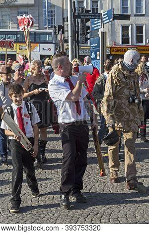 Bristol, Uk - October 31, 2015: Participants In The Annual Bristol Zombie Walk