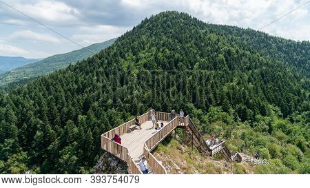 Valla Canyon, Kastamonu - August 2020: Tourists At The Observation Terrace At Top Of Valla Canyon In