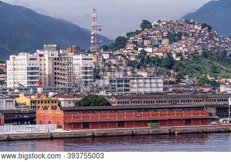 Rio De Janeiro, Brazil - December 22, 2008: Closeup Of Red Cruise Ship Terminal And Dock With Citysc