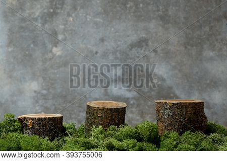 Three Vacant Wooden Podiums Of A Cylindrical Shape With Moss On A Gray Concrete Background. For Prod