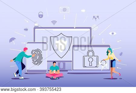 Concept Of Antivirus Software, Data Protection And Cyber Security. Digital Protection System Privacy