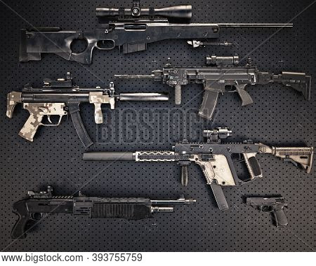 Weapons Stash Collection Of Assorted Lethal Firearms Consisting Of Automatic Assault Rifles With Acc