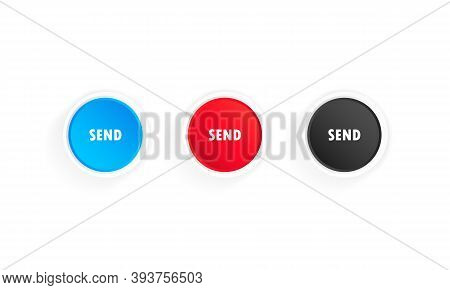 Send Button Icon Set. Sending Mail, Message, Text, Letter. Vector On Isolated White Background. Eps