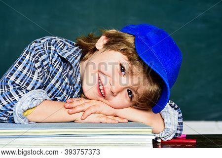 Cute Little Preschool Kid Boy In A Classroom. Schoolchild. Happy Mood Smiling Broadly In School. Sch