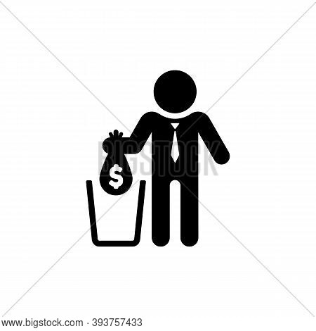 Do Not Waste Your Money Illustration. Businessman Throw Money In The Trash. Vector On Isolated White