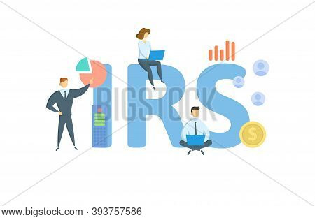 Irs, Internal Revenue Service. Concept With Keyword, People And Icons. Flat Vector Illustration. Iso