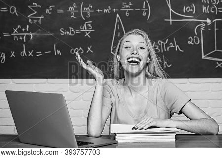 Student Preparing For College Exams. Student. Happy Mood Smiling Broadly In University. Education An