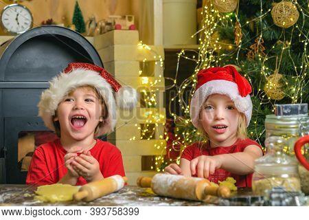 Santa Kids Making Cookie. Santa Chef. Christmas Cookies. Funny Children Making Cookies For Santa. Fu