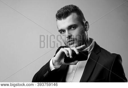 Business Big Project. Smartphone. Business Businessman Analyze Finance. Power Man And Business. Busi