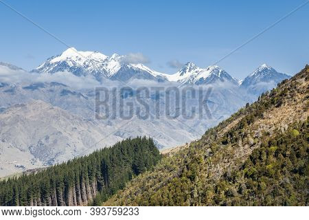 Snow Covered Peaks Of Mount Tapuae-o-uenuku In Inland Kaikoura Range, South Island, New Zealand