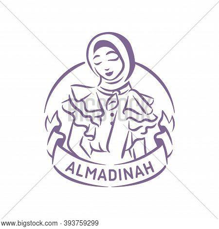 Muslim Fashion Logo Illustration Girl With Hijab