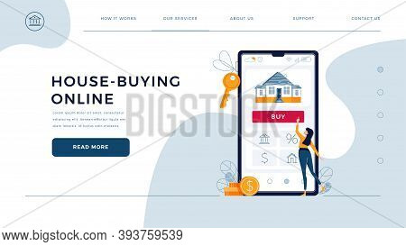 House-buying Online Homepage Web Template. Woman Buys Real Estate, Touches The Button On Phone. Deal