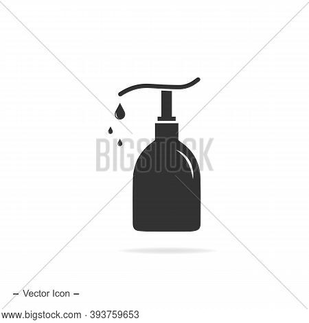 Pump Bottle Icon. Wash Gel, Alcohol Gel. Hand Disinfection Consept. Vector Icon