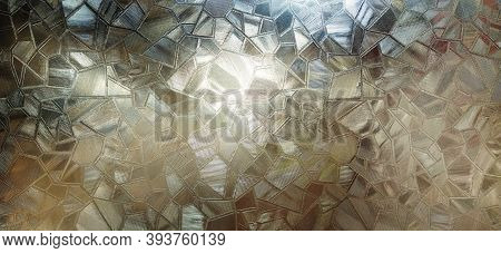 Corrugated Glass With Backlight. Beautiful Light Refraction In Red, Brown, Yellow, Orange And Black
