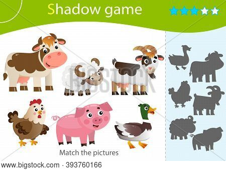 Shadow Game For Kids. Match The Right Shadow. Color Images Of Farm Animals. Cow, Sheep, Duck Or Drak