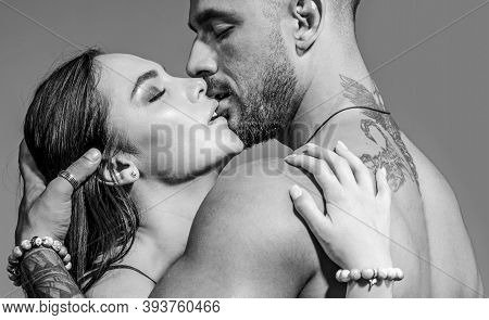 Sensual Couple Kiss. I Love You. Couple In Love. Romantic And Love Concept. Hugs Together And Sensua