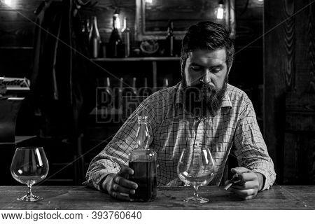 Swag Guy With Alcohol At Home. Drink Barman. Pub Retro Vintage Interior. Hipster Barman Concept. Dru