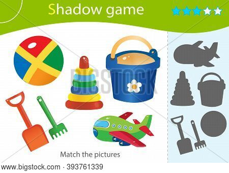 Shadow Game For Kids. Match The Right Shadow. Color Images Of Toys. Toy Shovel With Bucket, Ball, Py