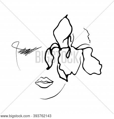 Line Drawing Woman Face With Iris Flower.