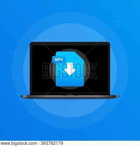Laptop And Download Mp4 File Icon. Document Downloading Concept. Mp4 Label And Down Arrow Sign. Vect