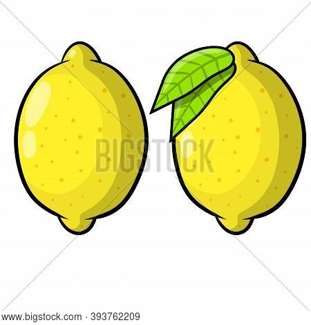 Limon. Yellow Sour Fruit. Set Of Objects With Vitamin C. Green Leaf. Cartoon Flat Illustration Isola
