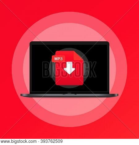 Laptop And Download Mp3 File Icon. Document Downloading Concept. Mp3 Label And Down Arrow Sign. Vect