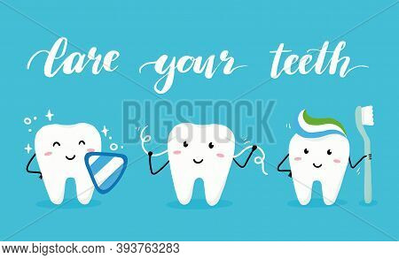 Set Of Happy Tooth Character With Face. Dental Kawaii Style Illustartion For Kids And Children Denti