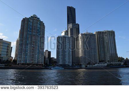 Modern Skyscrapers, Buildings Near The Brisbane River
