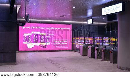 Warsaw, Poland. 8 November 2020. Warsaw Metro Station Interior. View Of Empty Metro Station