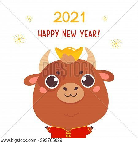 Cute Cartoon Ox In A Traditional Costume With Lettering. Design For Greeting Cards, Stickers, Banner