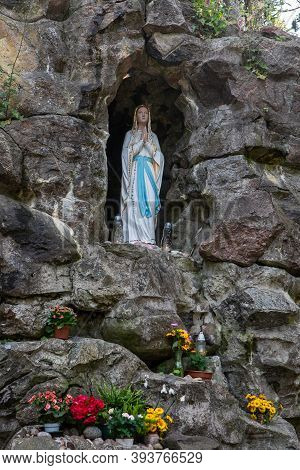 Palanga, Lithuania - July 11, 2020: Our Lady Of Lourdes Grotto In Birutes Park In Palanga, Lithuania
