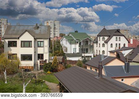 Vilnius, Lithuania - April 28, 2020: Vilnius City Suburban Neighborhood Fabijoniskes.