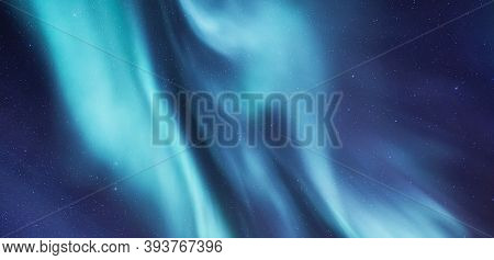 Sky Background With Northern Lights. Aurora Borealis On Lofoten Islands, Norway. Northern Lights Abo