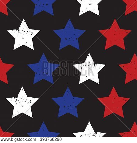 Blue Red Stars On Black Seamless Vector Background. Patriotic Repeating Pattern With Stars Grunge Te