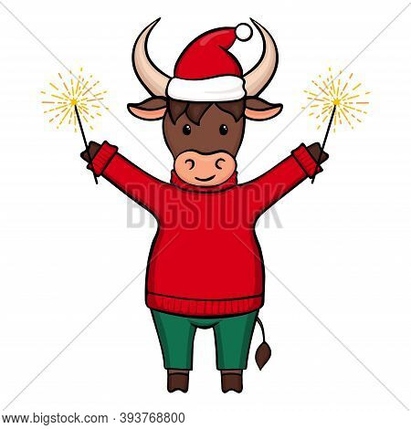 Ox, Cow, Bull With Sparkler. Vector Ox In A Sweater, Pants And Christmas Hat. Isolated On White Back