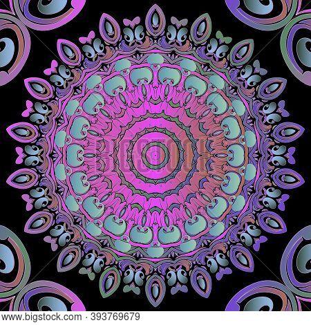 Paisley Seamless Pattern. Ornamental Colorful Mandalas Background. Repeat Backdrop. Decorative Flora