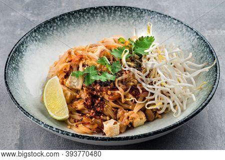 Chicken Pad Thai Dish Of Stir Fried Rice Noodles, Pad Thai With Chicken