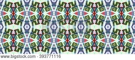 Geometric Painting. Blue, Green, Indigo, Denim Seamless Texture. Abstract Batik Print. Repeat Tie Dy