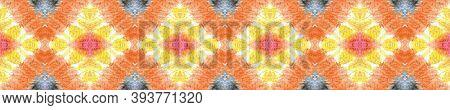 Watercolor Repeat Print.  Asian Backdrop.  Orange, Pink And Blue Textile Print. Multicolor Natural E